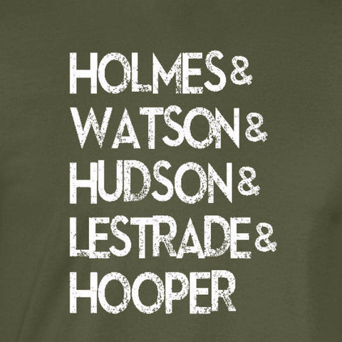 sherlock list crime stoppers hooper watson military green t-shirt