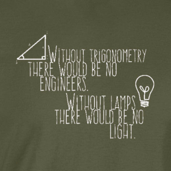 without lamps breakfast club engineer math funny military green t-shirt