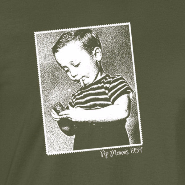 smoking boy white print military shirt - wicked moxie - pip morris 1954 funny classic