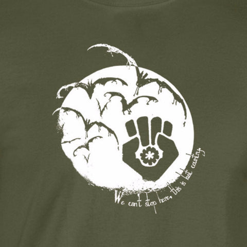 hunter thompson inspired bats gonzo fist can't stay here this is bat country white print military shirt - wicked moxie - writers authors kerouac fear loathing