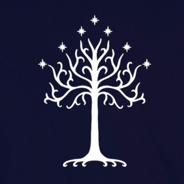 tree of gondor white lord of the rings lotr fandom tolkien navy t-shirt