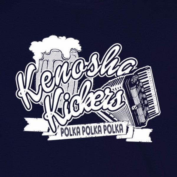 kenosha kickers home alone polka john candy accordian funny navy blue t-shirt
