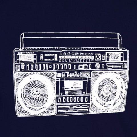 boombox old school vintage music retro rap rock hip hop navy blue t-shirt