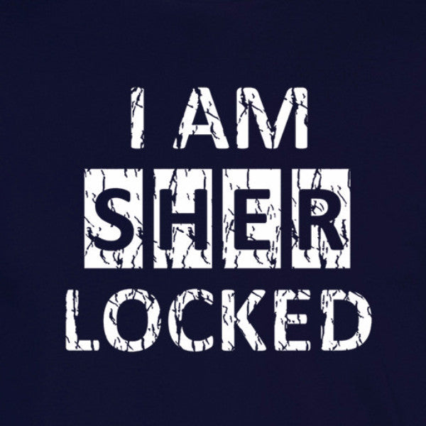 i am sherlocked distressed look white print navy shirt - wicked moxie - sci fi sherlock holmes cumberbatch lestrade watson