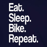 eat sleep bike repeat sports ride bmx x-games dirt bicycle navy blue t-shirt