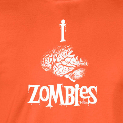 I brain zombies white print on orange shirt - wicked moxie - apocalypse love