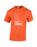 idaho no udaho white print orange shirt - wicked moxie - silhouette state humor funny