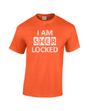 i am sherlocked distressed look white print orange shirt - wicked moxie - sci fi sherlock holmes cumberbatch lestrade watson