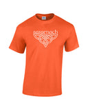 outlander inspired sassenach distressed knotwork white print orange shirt - wicked moxie - scotland poldark fraser fandom