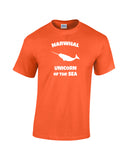narwhal unicorn of the sea white print orange shirt wicked moxie. Narwhal silhouette with word Narwhal above and unicorn of the sea below