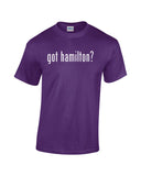 Got Hamilton purple shirt white print text with question mark broadway fandom daveed diggs