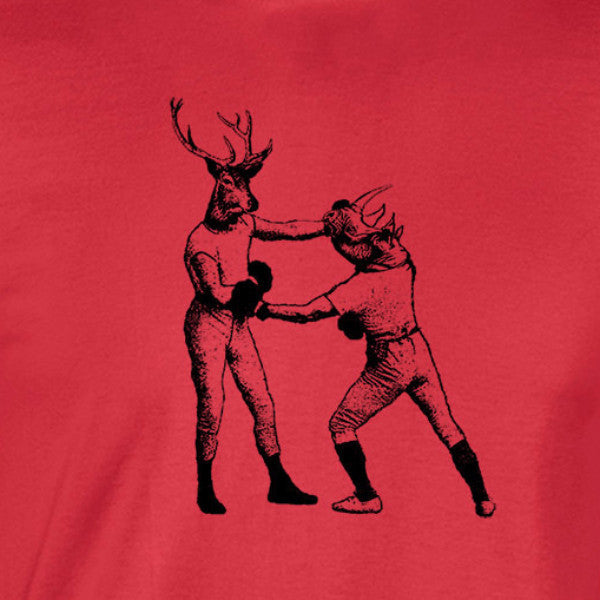 stag vs rhino retro vintage manipulation boxing bully black ink red t-shirt