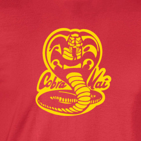 Cobra kai 80 movie karate kid retro yellow ink red t-shirt