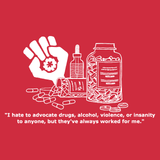 advocate drugs hunter s thompson quote alcohol gonzo fist red t-shirt