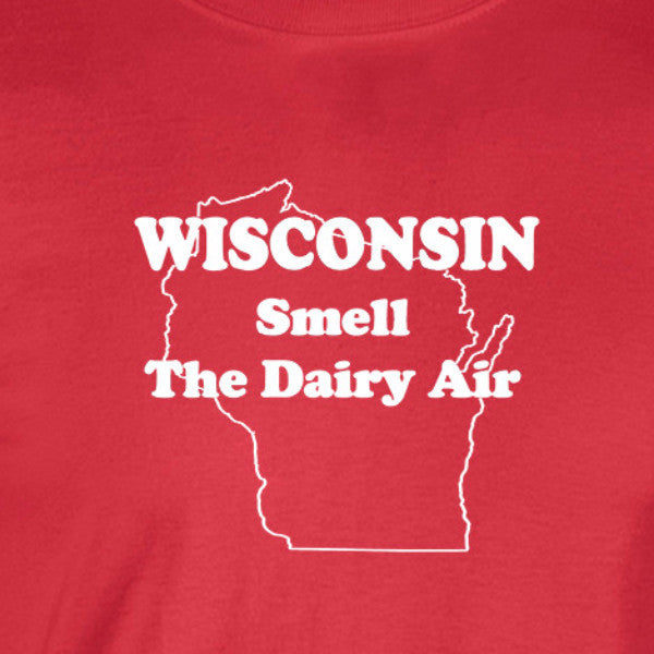 wisconsin dairy air white print red shirt - wicked moxie -