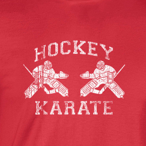 hockey karate distressed white print on red shirt - wicked moxie - 30 rock baldwin