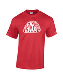 tacos silhouette word shirt red