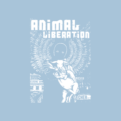 animal liberation angel holding sheep rights vegan vegetarian light blue t-shirt