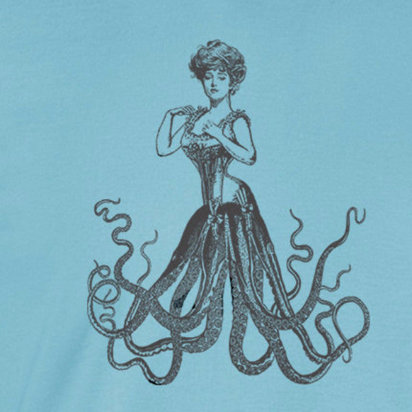victorian octopus gibson girl vintage tenticles charcoal ink light blue t-shirt