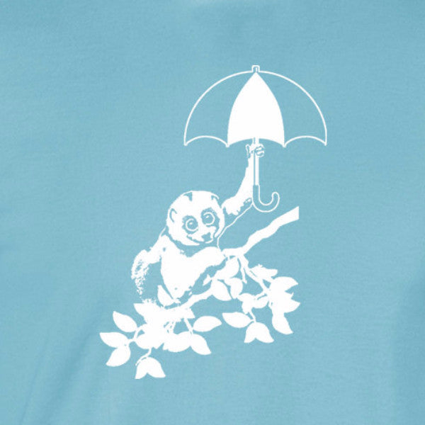 slow loris unbrella kawaii cute youtube viral light blue t-shirt