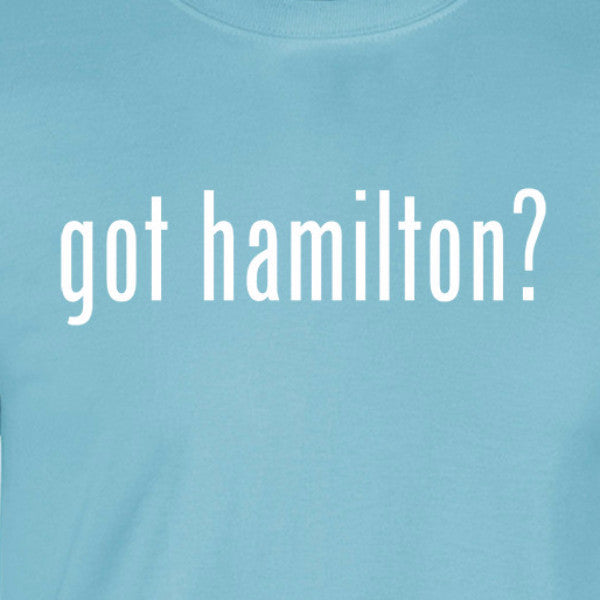 Got Hamilton light blue shirt white print text with question mark broadway fandom daveed diggs