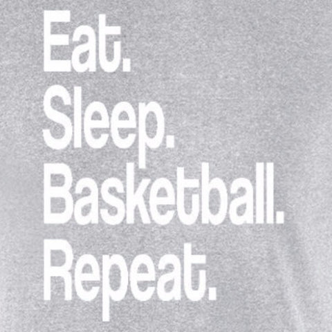 eat sleep basketball repeat sports fan motivation nba hoops ncaa sports grey t-shirt