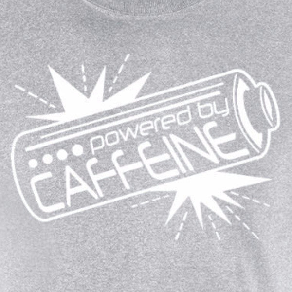 powered by caffeine coffee lovers energy drink motivation sports grey t-shirt