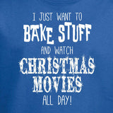 bake christmas movies youth t-shirt royal blue funny holiday text short sleeve kids boys girls tee