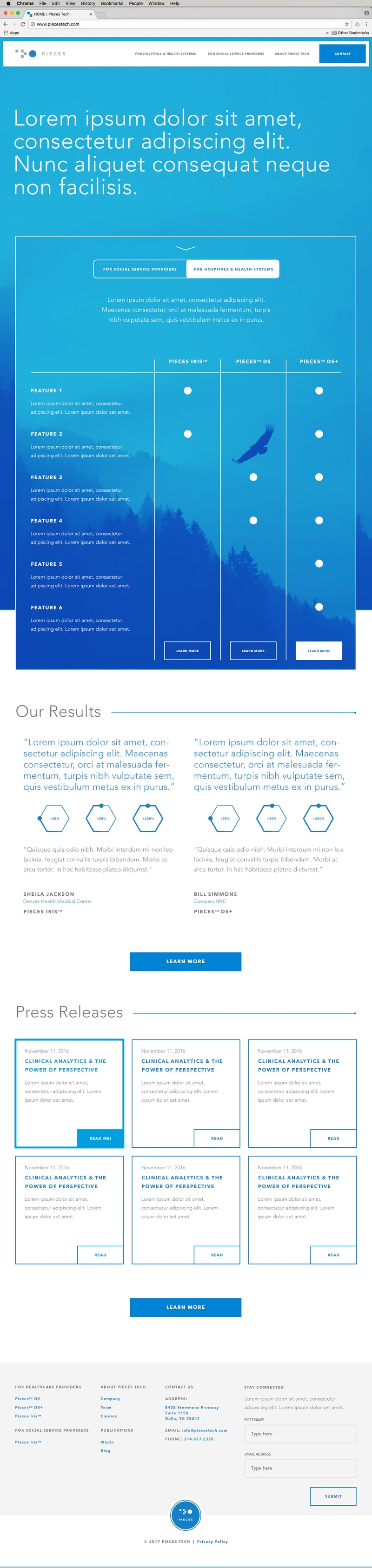 Pieces Tech: Responsive Website Wireframes