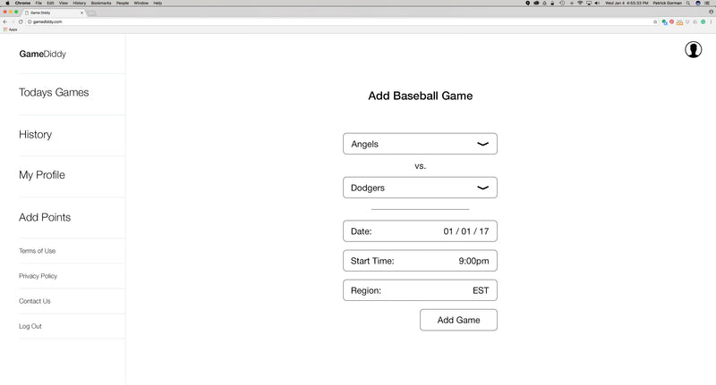 GameDiddy: Sports Betting Responsive Website