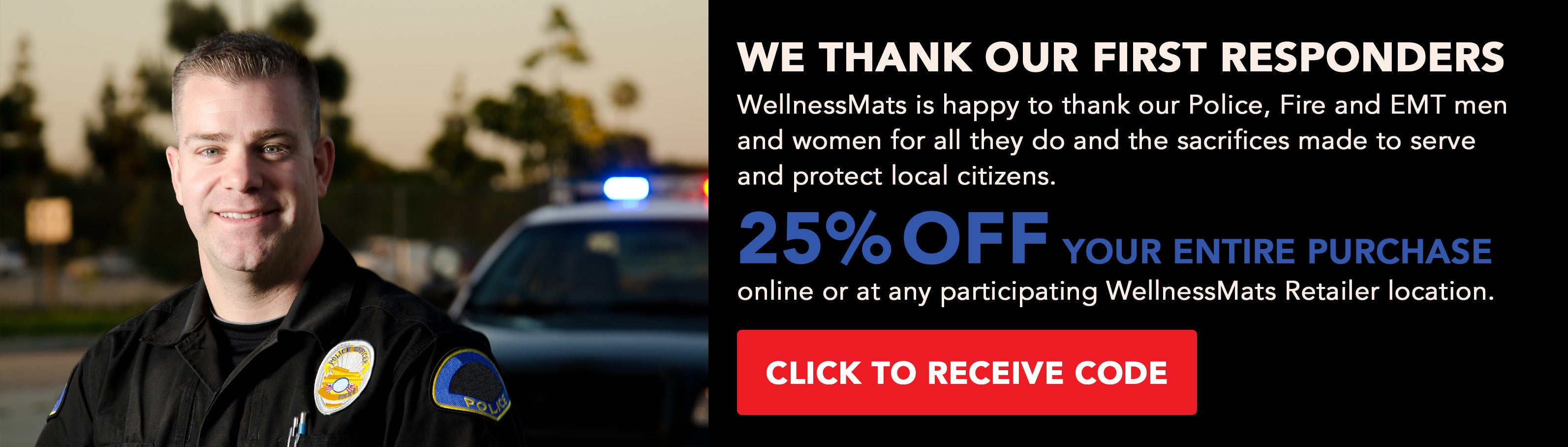 25% off WellnessMats for First Responders