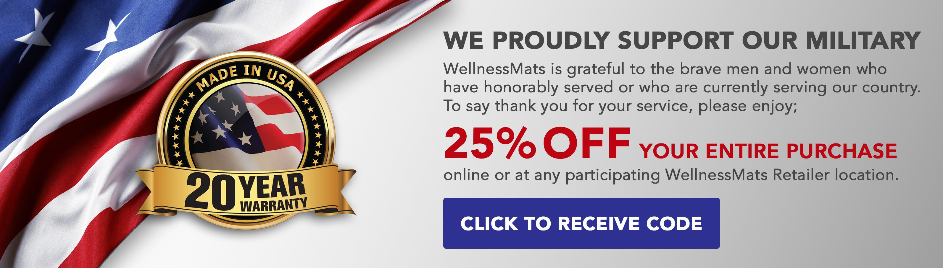 25% off WellnessMats for Military Personnel
