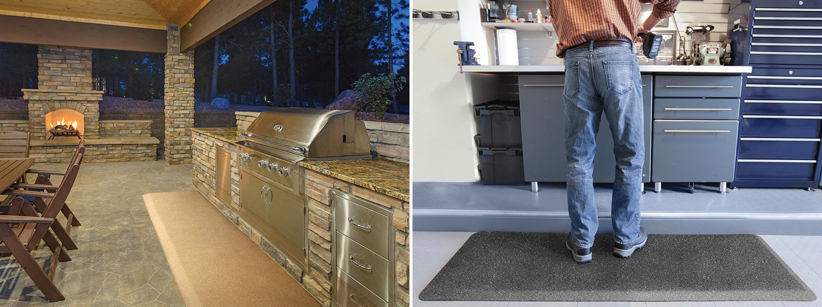 Granite Gold PuzzlePiece Runner in outdoor kitchen and Granite Steel in the garage