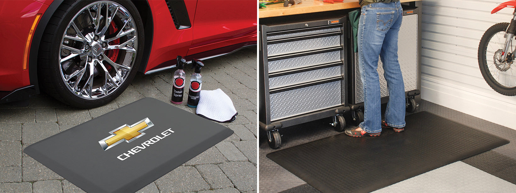Licensed WellnessMat to trick out your garage and Maxum mat for industrial strength comfort