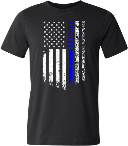 "PragerU ""Thin Blue Line"""" Distressed Flag Shirt (Black/Blue/White)"