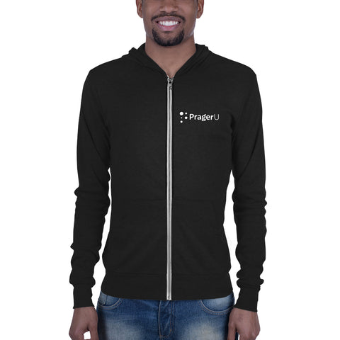 PragerU Front and Back Logo Unisex zip hoodie