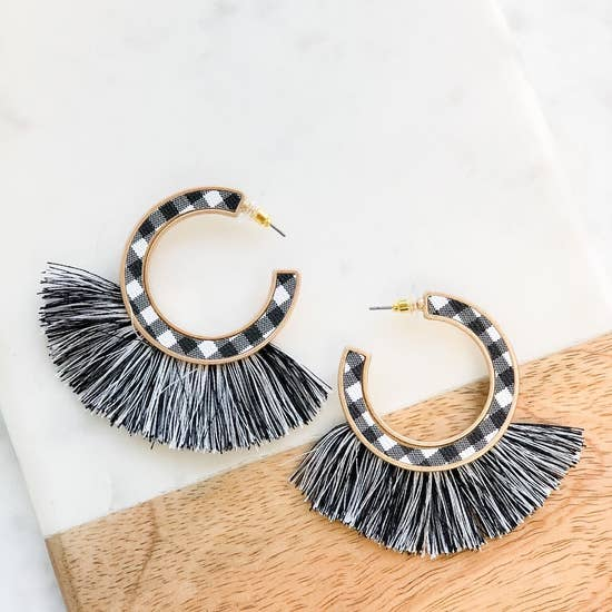 Buffalo Check Plaid Fringe Hoop Earrings