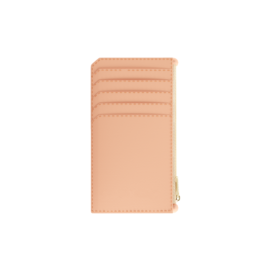 Bisque Nude Saffiano Zippered Card Case
