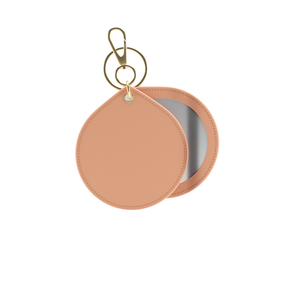 Bisque Nude Saffiano Mirrored Keychain