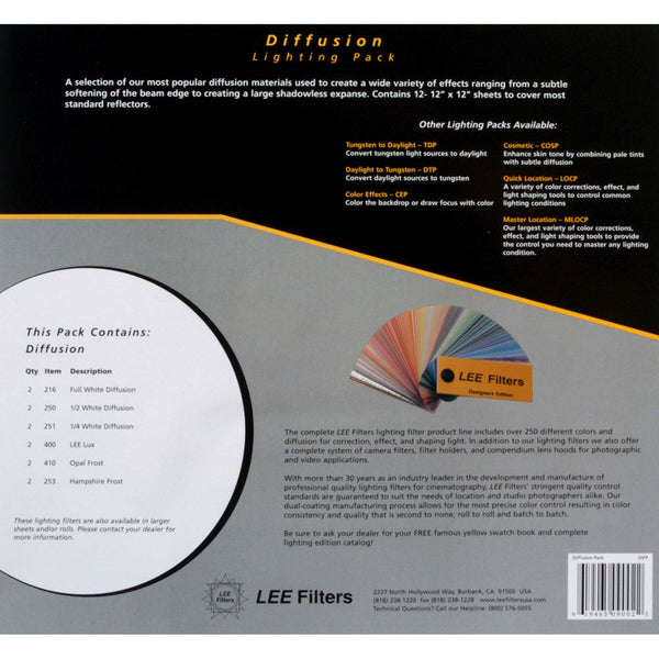 "Kit de Filtros LEE Lighting Pack Diffusion 12 Hojas (10""x12"")"