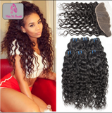 (On Sale) Peruvian Wet& Wavy Lace Frontal WITH 4 Bundles