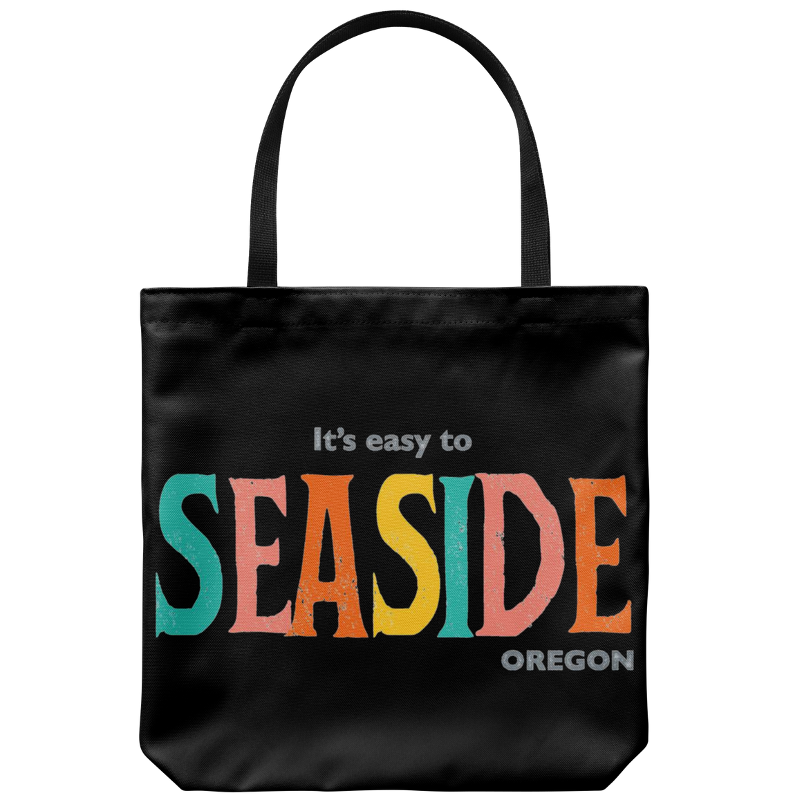 Black Seaside Oregon Tote Bag