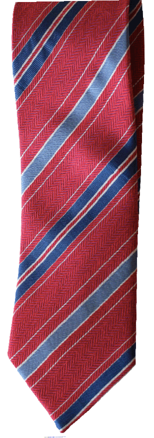 Italian silk ties hand sewn in Italy - Red & Blue Stripe