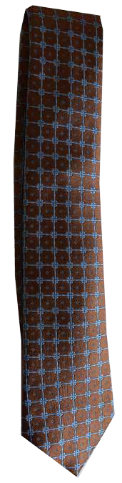 Hand Sewn - Italian Silk Tie - Brown & Blue Dot