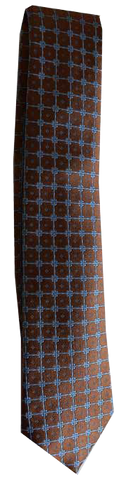 Italian silk ties hand sewn in Italy - Brown & Blue Dot