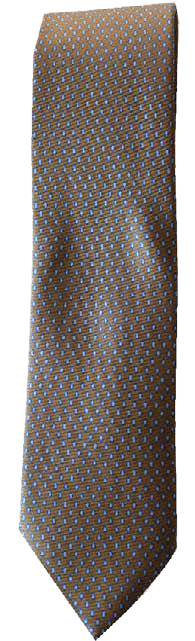 Hand Sewn - Italian Silk Tie - Brown & Blue Micro Dot