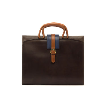 Hand Painted Calf Leather Dark Brown Cognac & Navy Briefcase