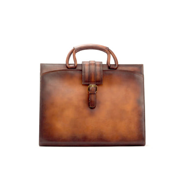 Painted Calf Burnished Cognac Brown Briefcase