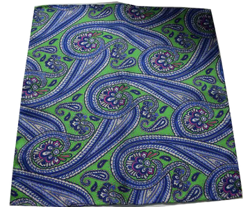 Italian Hand Sewn Pocket Square - Green & Blue Paisley