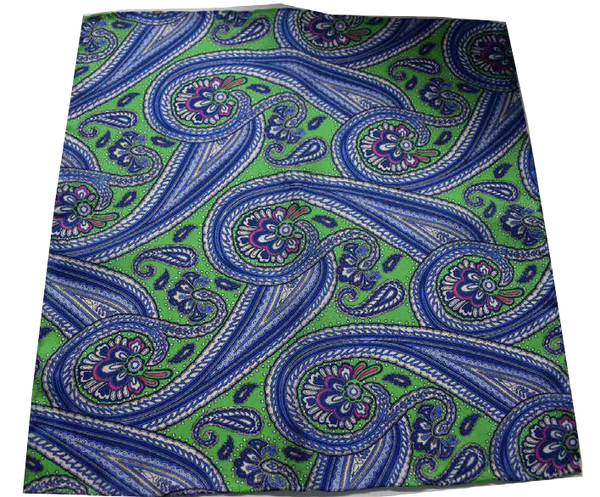 Italian Hand Sewn Pocket Square - Green & Blue Paisley - DV Clothiers - The Best Custom Mens Suits In Vancouver